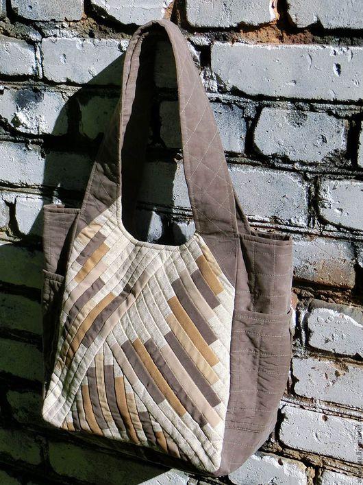 Сумки и аксессуары ручной работы. Ярмарка Мастеров - ручная работа. Купить Сумка из ткани в стиле пэчворк в нейтральных тонах. Handmade.
