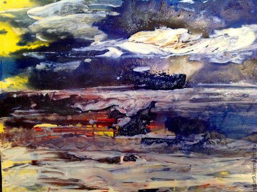 Абстракция ручной работы. Ярмарка Мастеров - ручная работа. Купить Облака над морем. Стихия воды.. Handmade. Синий