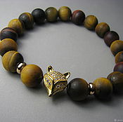 Украшения handmade. Livemaster - original item Bracelet with tiger eye and bullish