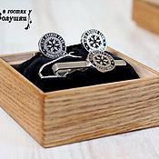 Комплект из серебра 925 пробы: запонки и зажим для галстука