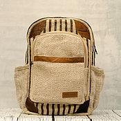 Рюкзак из конопли с кожаными вставками