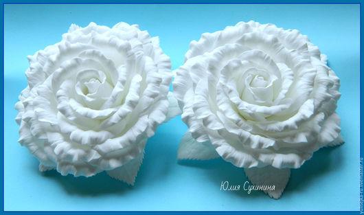 Заколки ручной работы. Ярмарка Мастеров - ручная работа. Купить Белые розы. резиночки, заколочки.. Handmade. Белый, резиночки, школа