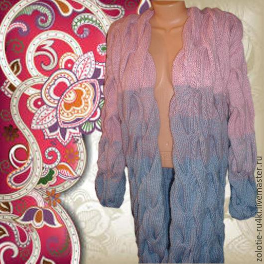 """Кофты и свитера ручной работы. Ярмарка Мастеров - ручная работа. Купить Кардиган косами """"Шарпей"""" РУЧНАЯ РАБОТА. Handmade. Комбинированный"""