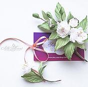 Украшения handmade. Livemaster - original item Sprig brooch Sakura. Sprig of cherry blossoms. Silk flowers. Handmade.