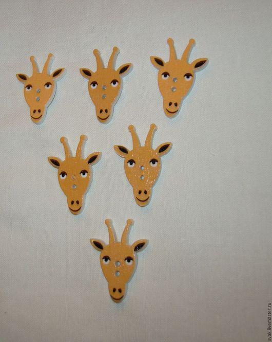 Шитье ручной работы. Ярмарка Мастеров - ручная работа. Купить Пуговицы деревянные, мордочки жирафа. Handmade. Цветные пуговицы, пуговицы