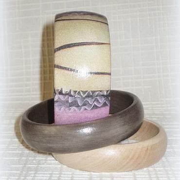 Украшения ручной работы. Ярмарка Мастеров - ручная работа Комплект браслетов из дерева Трио Шоколадный бежевый розово-сиреневый. Handmade.