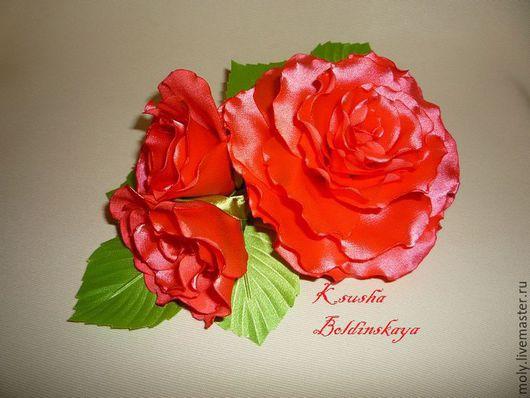 Броши ручной работы. Ярмарка Мастеров - ручная работа. Купить роза с бутонами. Handmade. Коралловый, цветы из шелка, цветок