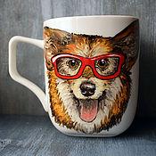 Посуда handmade. Livemaster - original item Welsh Corgi X-mas mug. Handmade.