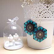 Украшения handmade. Livemaster - original item Transparent Earrings Resin Geometry Pattern Blue Snowflake Winter Fairy Tale No. №1. Handmade.