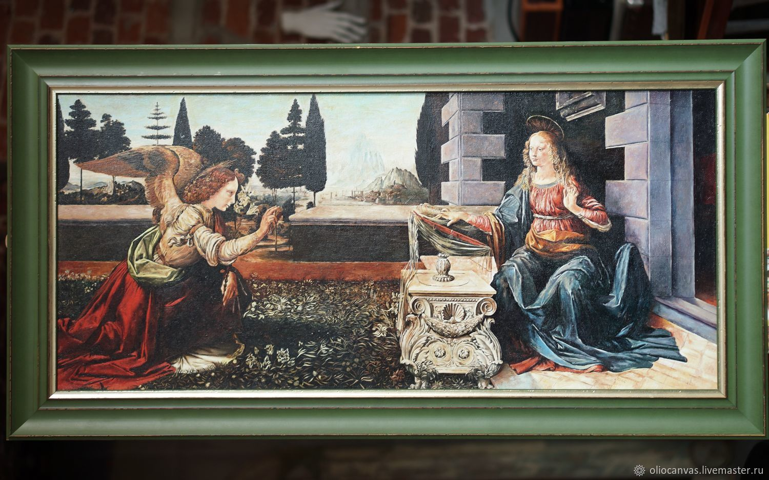 Oil painting the Annunciation by Leonardo da Vinci. Hand copy.110h50cm, Pictures, St. Petersburg,  Фото №1