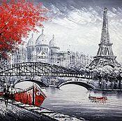 Картины и панно ручной работы. Ярмарка Мастеров - ручная работа Париж. Вид на Эйфелеву башню через Сену. Красно-черная версия N5. Handmade.