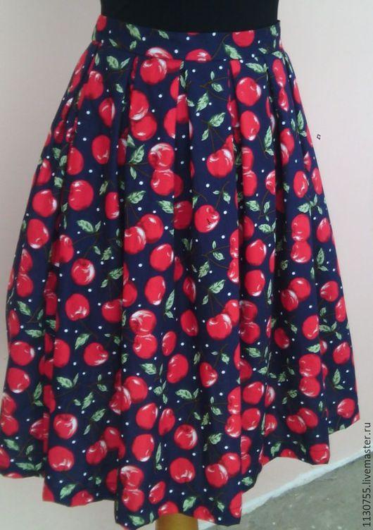 """Юбки ручной работы. Ярмарка Мастеров - ручная работа. Купить юбка из хлопка """"Вишни"""". Handmade. Комбинированный, юбка, юбка для девочки"""