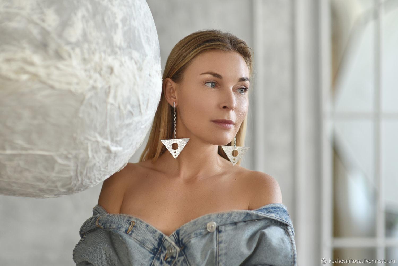 Long leather earrings Silver triangles, Earrings, Nizhnij Tagil,  Фото №1