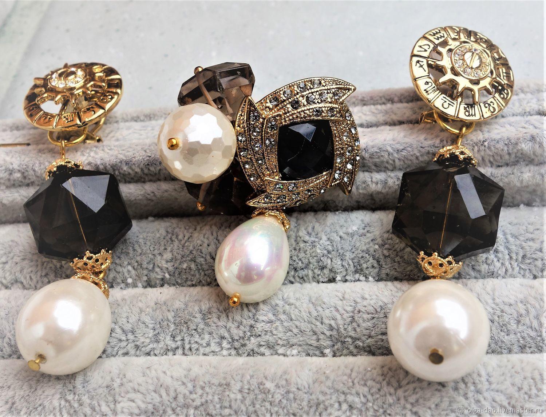 f9ee3d68bac Sets handmade jewelry. Fair Masters - handmade. Buy stylish gold set with  black ...