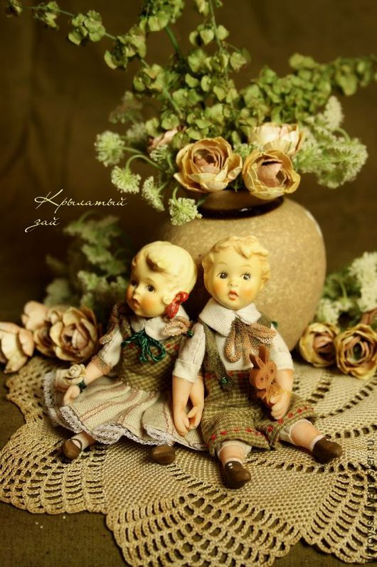 Куклы и игрушки ручной работы. Ярмарка Мастеров - ручная работа. Купить Малыши из антикварных головок Павлуша и Олюшка. Handmade. Оливковый