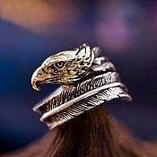 Украшения handmade. Livemaster - original item Ring in the form of Eagle Feather silver 925 jewelry brass dimens. Handmade.