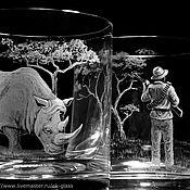 """Бокалы ручной работы. Ярмарка Мастеров - ручная работа """"Белый Носорог и Человек"""". Handmade."""