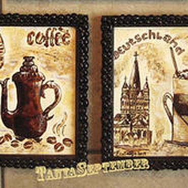 Картины и панно ручной работы. Ярмарка Мастеров - ручная работа Кофейный диптих КОФЕ И МИР (2 картины в рамах). Handmade.