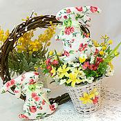 Подарки к праздникам ручной работы. Ярмарка Мастеров - ручная работа Пасхальный зайчик в корзинке. Handmade.