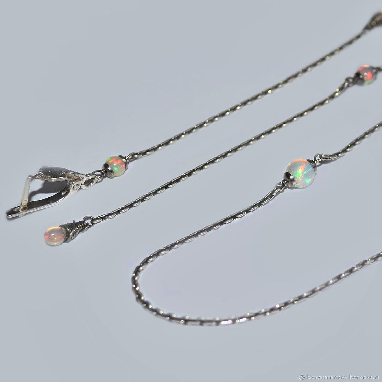 Длинные тонкие серебряные серьги и цепочка с эфиопским опалом. Ксения  Сахарнова. Серебряные украшения. 7149c9c94b8