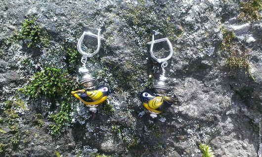 Серьги ручной работы. Ярмарка Мастеров - ручная работа. Купить серьги Птички-Синички. Handmade. Желтый, синички, серьги, серебро