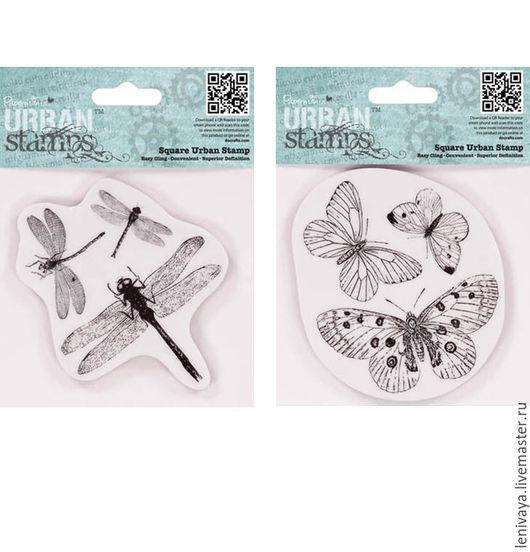 Штампы Стрекозы и Бабочки  10 х10 см  резиновые