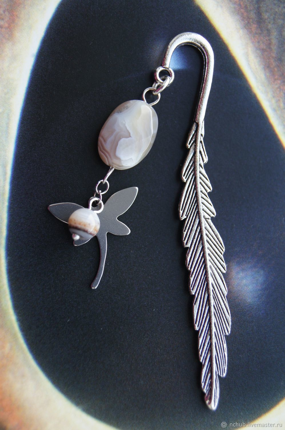 bookmark for books diaries notebooks butterfly with agate shop