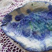 """Винтажные тарелки ручной работы. Ярмарка Мастеров - ручная работа Фарфоровые тарелки """" Ловись, рыбка"""". Handmade."""