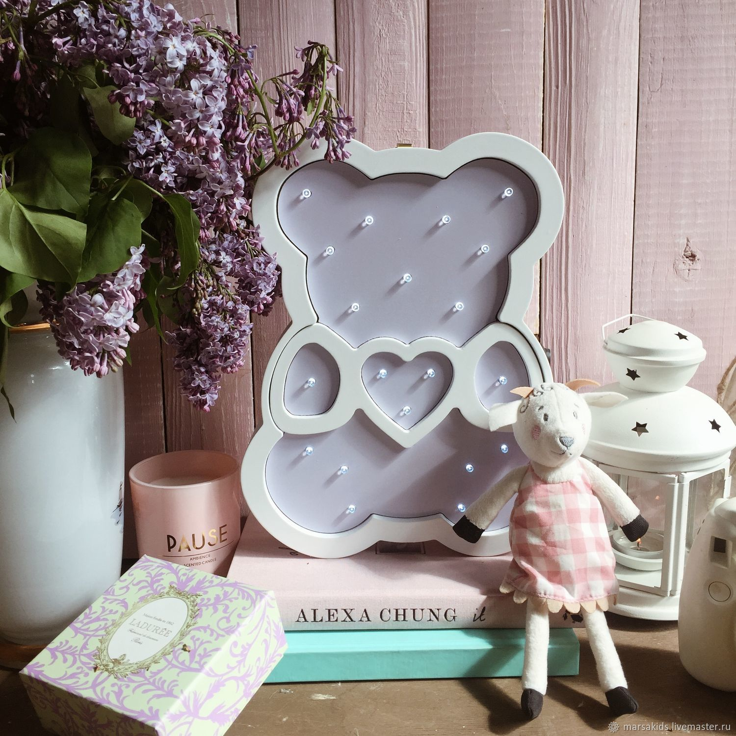 Nightlamp Bear white/light-lilac color, Lamp, Moscow, Фото №1