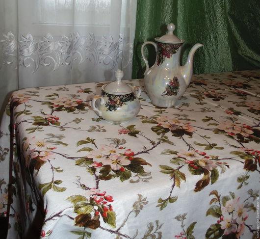 """Кухня ручной работы. Ярмарка Мастеров - ручная работа. Купить Скатерть """" Яблоневый цвет"""". Handmade. Белый, кухня, хлопок"""