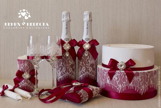 Свадебные аксессуары ручной работы. Ярмарка Мастеров - ручная работа. Купить Свадебный комплект в цвете марсала. Handmade. Бордовый