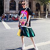 Платья ручной работы. Ярмарка Мастеров - ручная работа Платье-футболка с крупным принтом. Handmade.