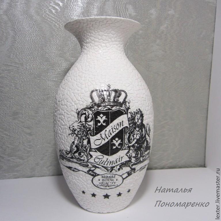 Вазы ручной работы. Стеклянная ваза  Монохром