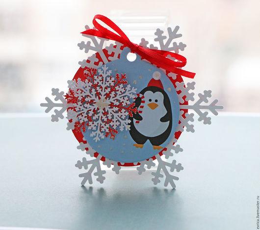 """Открытки к Новому году ручной работы. Ярмарка Мастеров - ручная работа. Купить """"Пингвин"""" открытка-бирка. Handmade. Комбинированный, пингвины"""