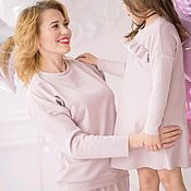 Одежда handmade. Livemaster - original item Long sleeve sweatshirt with suede in the knit. Pink sweatshirt with a print of familily. Handmade.