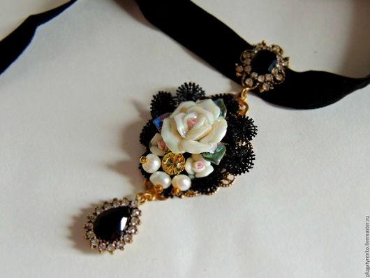 Кулоны, подвески ручной работы. Ярмарка Мастеров - ручная работа. Купить Подвеска в стиле D&G Ceramic flower. Handmade.