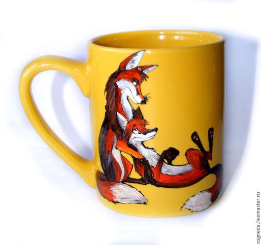 Кружки и чашки ручной работы. Ярмарка Мастеров - ручная работа. Купить Цветные Лисьи чашки (0853). Handmade. Рыжий, лисичка
