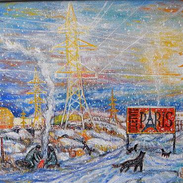 Картины и панно ручной работы. Ярмарка Мастеров - ручная работа Картина Эйфелевы  башни городских окраин. Handmade.