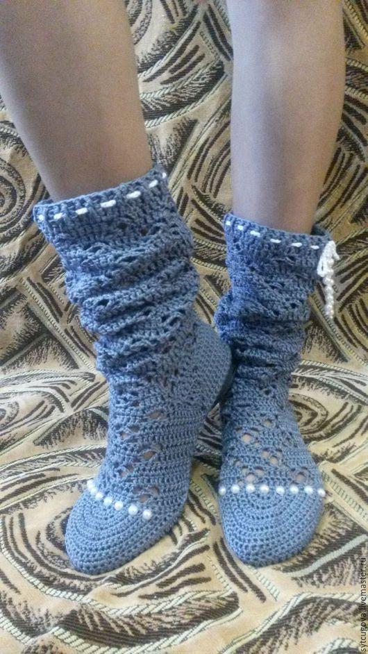 Обувь ручной работы. Ярмарка Мастеров - ручная работа. Купить Вязаные сапожки...летние...Византия. Handmade. Разноцветный, сапоги для улицы