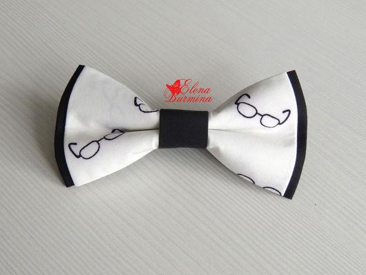 Галстуки, бабочки ручной работы. Ярмарка Мастеров - ручная работа. Купить Бабочка галстук с очками, хлопок. Handmade. Чёрно-белый