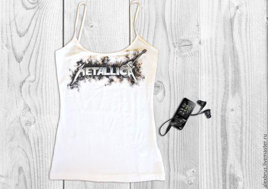 """Футболки, майки ручной работы. Ярмарка Мастеров - ручная работа. Купить Футболка """"Металлика"""" ручная роспись. Handmade. Белый, футболка"""