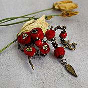 Украшения handmade. Livemaster - original item The brooch is a sprig of coral and felt