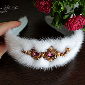 Украшения handmade. Livemaster - original item The headband fur white mink Russian-style Harmony. Handmade.