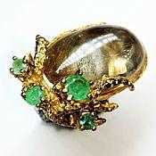 Украшения handmade. Livemaster - original item Gold thread ring with rutile quartz. Handmade.
