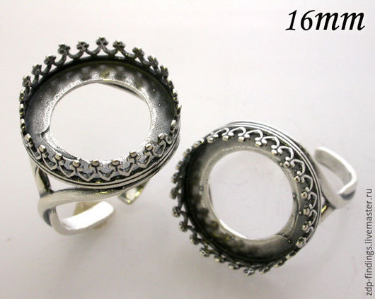 Для украшений ручной работы. Ярмарка Мастеров - ручная работа. Купить 2 цвета 1 серебряная основа сеттинг 16мм для кольца  8482. Handmade.