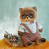 Куклы и игрушки ручной работы. Ярмарка Мастеров - ручная работа Валяный котенок Прохор. Handmade.