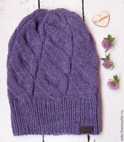 вязаная шапка с косами, вязаная шапка спицами, шапка вязаная на осень, шапка ручной работы купить, шапка с косами купить