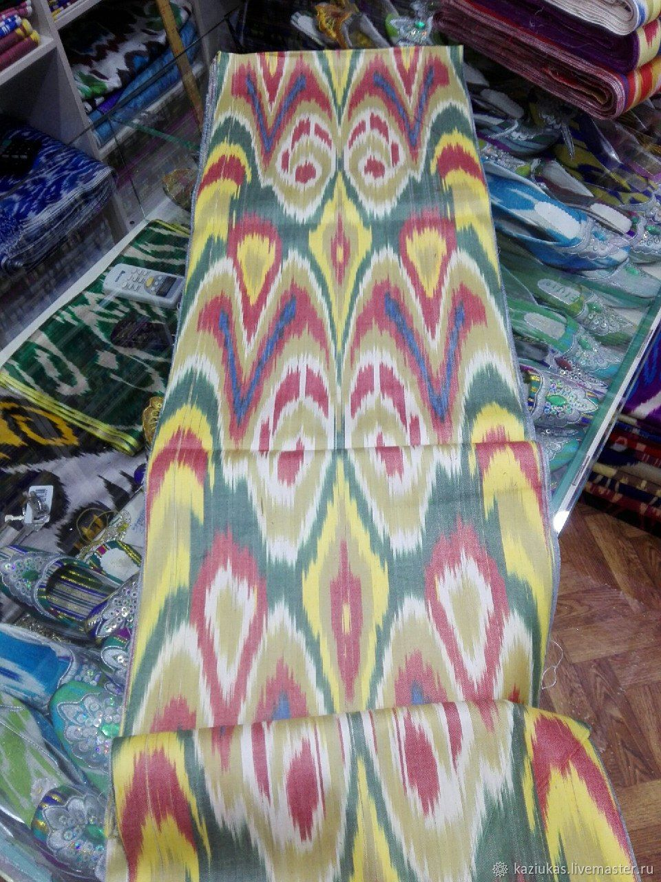 Uzbek cotton ikat hand weaving. FM074, Fabric, Odintsovo,  Фото №1