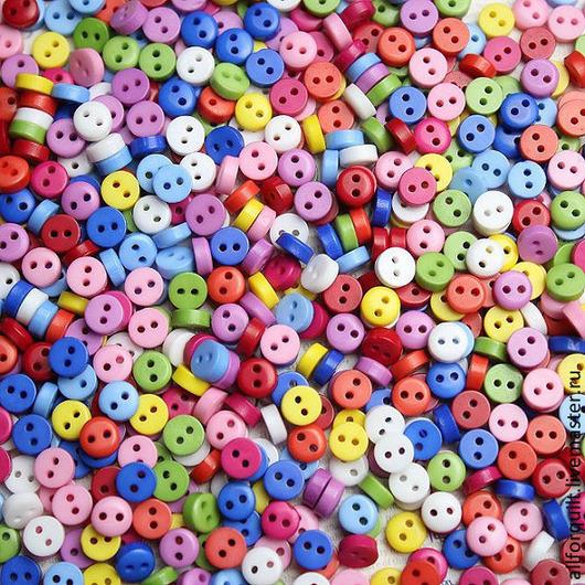 Куклы и игрушки ручной работы. Ярмарка Мастеров - ручная работа. Купить Пуговки пластик,  6 мм., 10 цветов. Handmade.