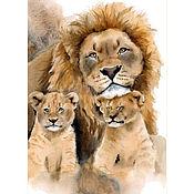 Картины и панно handmade. Livemaster - original item Watercolor painting lion and lion cubs (red beige gray). Handmade.